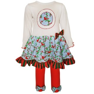 AnnLoren Girls Multicolored Cotton Dress and Legging Christmas Holiday Outfit