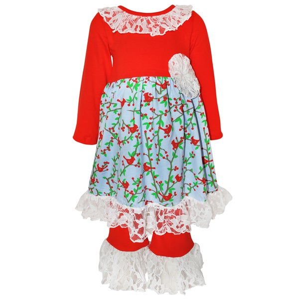 Ann Loren Girls' Red/White/Green Cotton Boutique Birds Lace Christmas Outfit