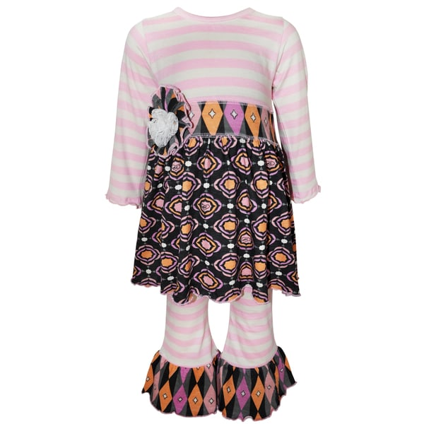 Ann Loren Girls' Pink/Purple/Grey Cotton Boutique Striped Gathered Medallion Outfit