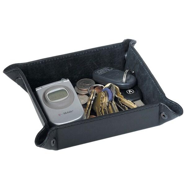 Black Leather 5.5-inch x 5.5-inch x 1.5-inch Storage Basket Organizer