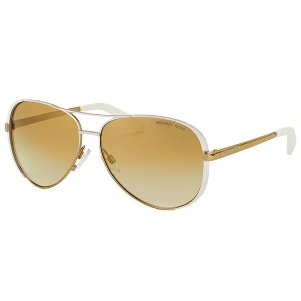 Michael Kors Women's Chelsea MK 5004 10166E White/Gold Fade Metal Aviator Sunglasses