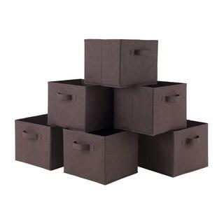 Winsome Capri Black/Chocolate Fabric Foldable Storage Baskets (Pack of 6)