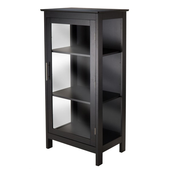 Winsome Poppy Black Wood Display Storage Cabinet With Glass Door