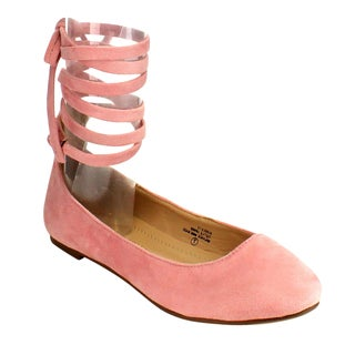 Chase and Chloe Women's Blue/Black/Pink/Beige Faux Suede Lace Up Ballet Flats