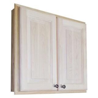 WG Wood Products Barcelona Natural Wood 24-inch Recessed Double Door Medicine Storage Cabinet