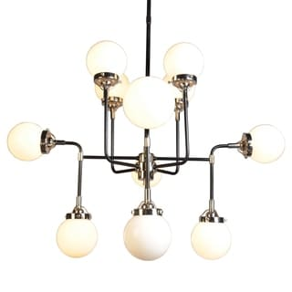 Dalinni Iron Chrome Finish 12-light Multi-directional Contemporary Chandelier with White Frosted Glass