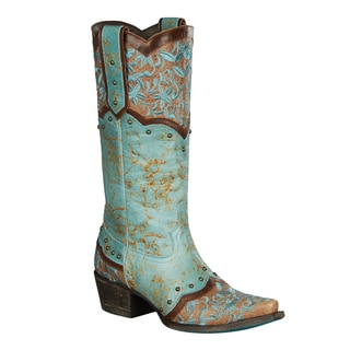 Lane Boots Women's Kimmie Brown/Tan/Turquoise Leather Cowboy Boot
