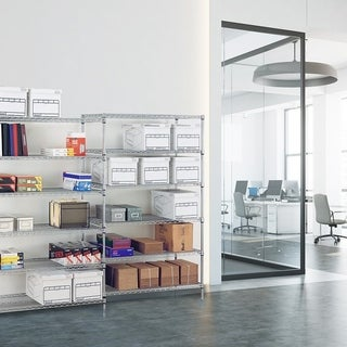 Seville Classics UltraZinc Grey Steel 18-inch x 48-inch x 72-inch 6-shelf Wire Shelving System With Casters