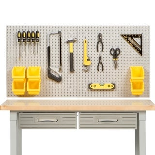 Seville Classics Grey/Yellow Steel/Plastic 8-square-foot UltraHD Pegboard Set