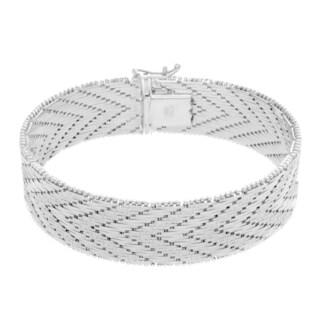 Sterling Essentials Silver Italian Riccio Bracelet 21-Row 5/8 inch wide (7 inch)