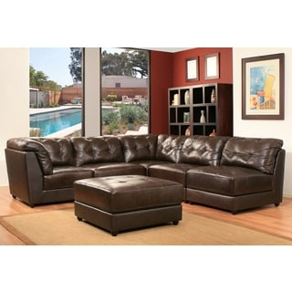 Montreal 6 Piece Top Grain Dark Brown Leather Modular Sectional