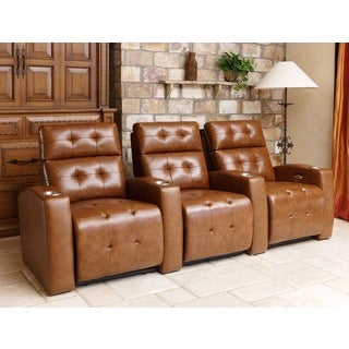 Preston 3 Piece Top Grain Leather Reclining Theatre Set, Camel