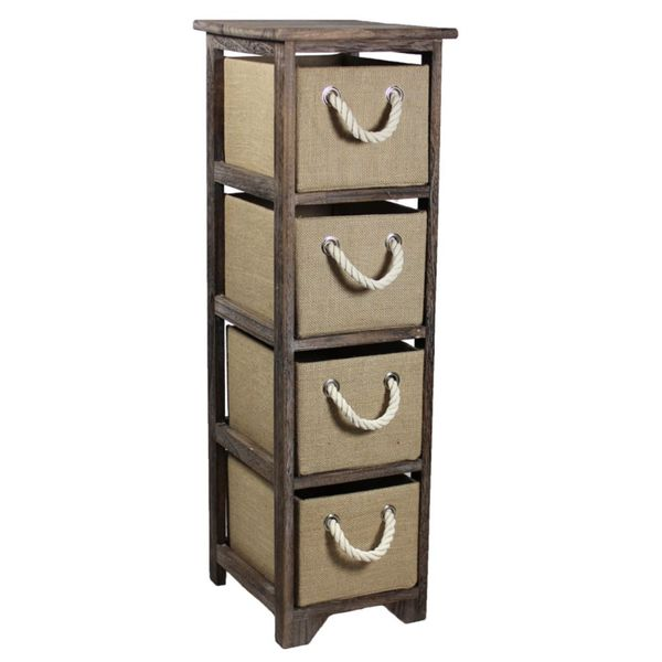 Brown 4-Drawer Storage Bin