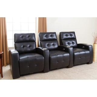 Preston 3 Piece Top Grain Leather Reclining Theatre Set, Black