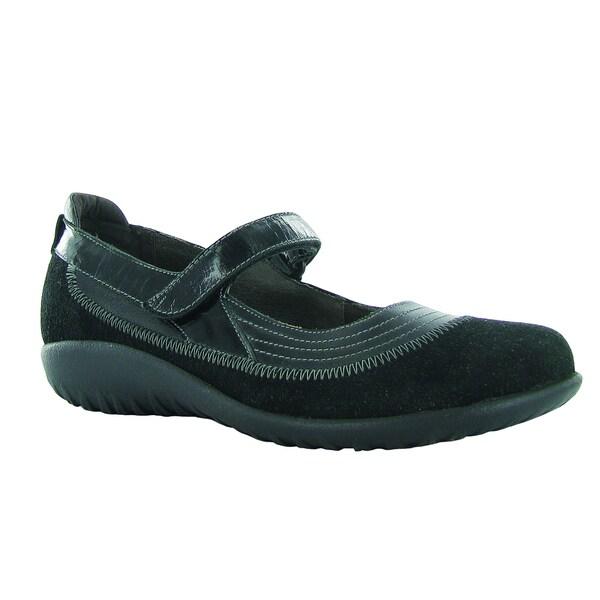 Koru Collection Women's Naot Kirei Black Leather, Polyurethane, Suede Comfort Mary Jane Shoes