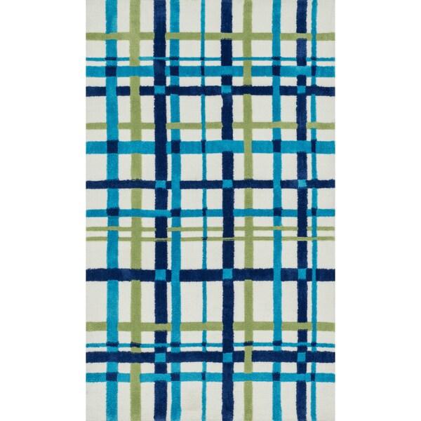 Microfiber Kit Blue/ Green Plad Rug (2'0 x 3'0)