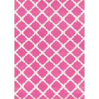 Microfiber Kit Bubble Gum Pink Rug (5'0 x 7'0)