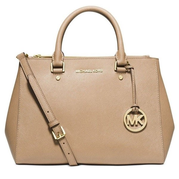 Michael Kors Sutton Medium Saffiano Leather Dark Khaki Satchel Handbag