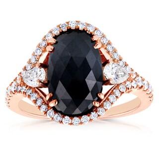 Annello 18k Rose Gold 3 7/8ct TDW Black and White Diamond Vintage Oval Ring (G-H, I1-I2)