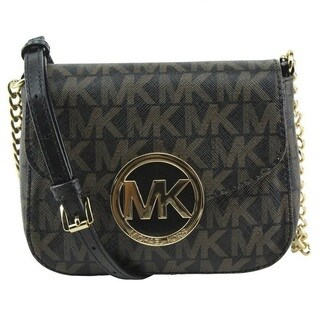 Michael Kors Fulton Small Dark Brown Signature Crossbody Handbag
