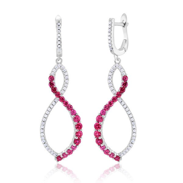 Sterling Silver Rhodium-plated Pink Cubic Zirconia Figure-eight Dangling Earrings