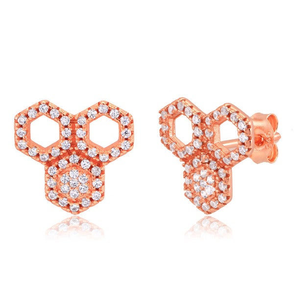Rose-gold-plated Sterling Silver CZ Honeycomb Stud Earrings