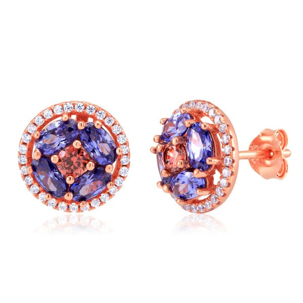 Women's Sterling Silver Rose Gold-plated Tanzanite Cubic Zirconia Round Stud Earrings