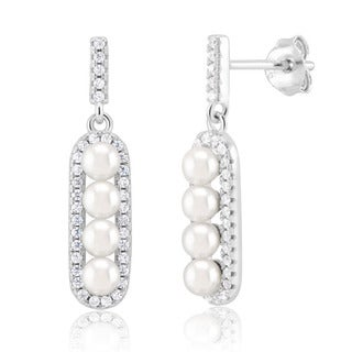 Sterling Silver Rhodium-plated Cubic Zirconium and Pearl Ladder Dangling Earrings