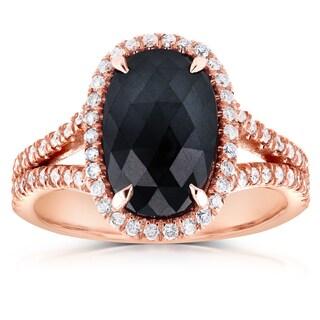 Annello 14k Rose Gold 3 3/5ct TDW Black and White Diamond Split Shank Oval Halo Ring (G-H, I1-I2)