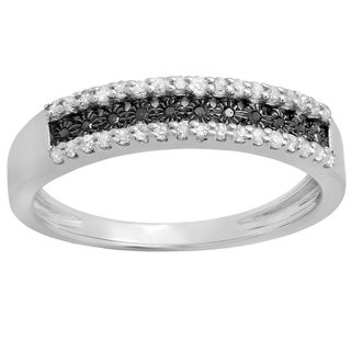 Woman's Sterling Silver Black and White Diamond Anniversary Wedding Band