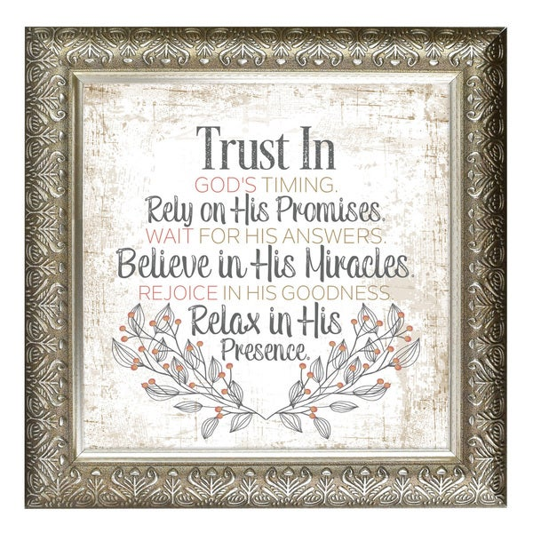 """Trust In God's Timing"" Inspirational Moments Framed Art"