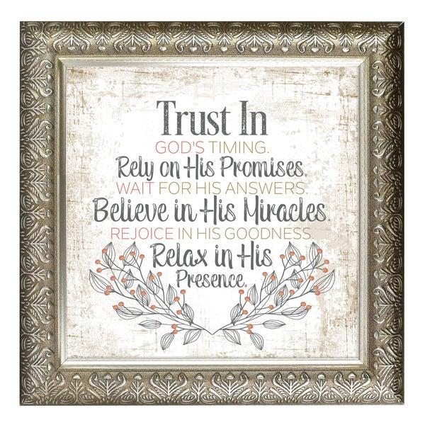 """Trust In God's Timing"" Inspirational Moments Framed Art"