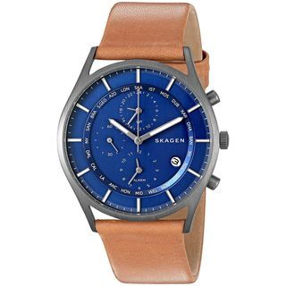 Skagen Men's SKW6285 'Holst' World Time and Alarm Chronograph Brown Leather Watch