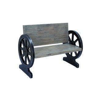 Solid Wood Bench With Weight Bearing Wheel Shaped Legs