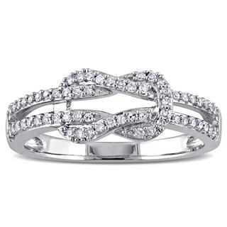 Miadora 10k White Gold 1/4ct TDW Diamond Interlocking Ring (G-H, I2-I3)