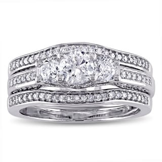 Miadora Signature Collection 14k White Gold 1 1/5ct TDW Diamond 3-stone Bridal Ring Set (G-H, I2-I3)