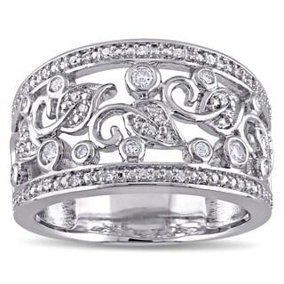Miadora Sterling Silver 1/4ct TDW Diamond Filigree Anniversary Ring (G-H, I2-I3)
