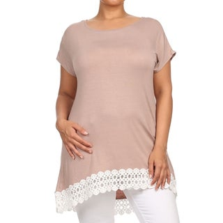 MOA Collection Women's Black Rayon, Spandex Plus Size Solid Top with Crochet Lace Detailing