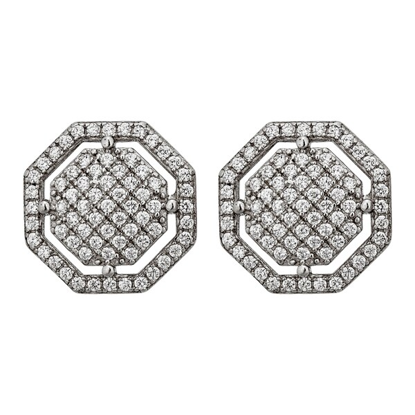Decadence Sterling Silver Micropave Octagon Stud Earrings