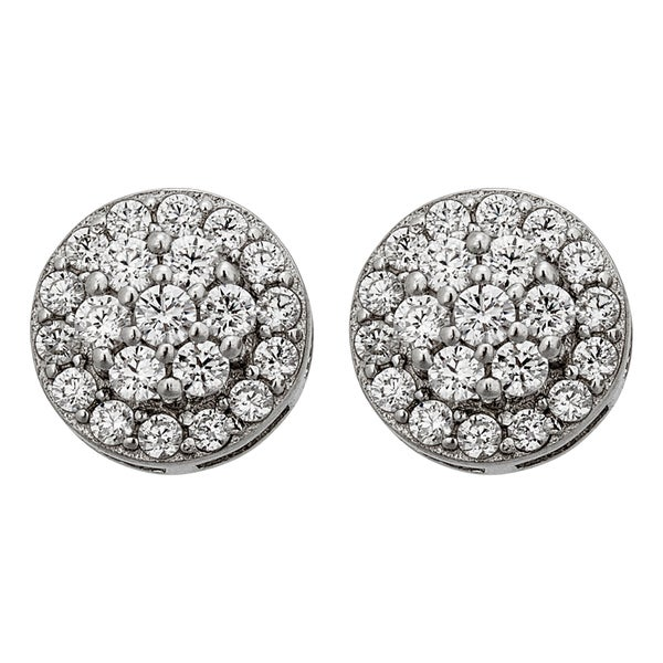 Decadence Sterling Silver Micropave Round Cluster Stud Earrings