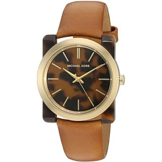 Michael Kors Women's MK2484 'Kempton' Tortoise Acetate Brown Leather Watch