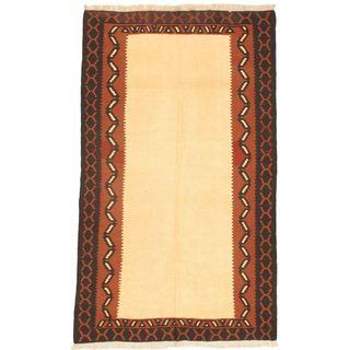 Ecarpetgallery Ankara Cream/Black/Brown Wool Kilim Handwoven Rug (4'6 x 7'8)