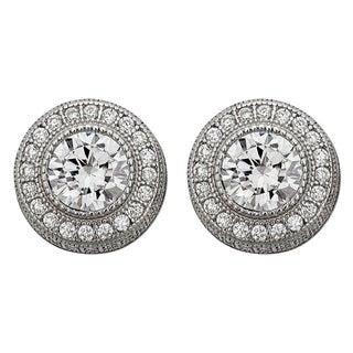 Sterling Silver Micropave Milgrain Round Stud Earrings