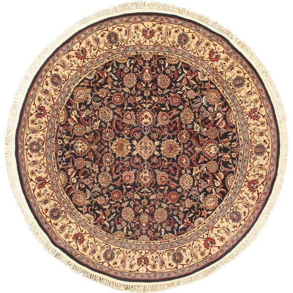 ecarpetgallery Sino Persian Brown/Cream/Navy/Light Blue/Peach/Teal Cotton, Wool Hand-knotted Rug
