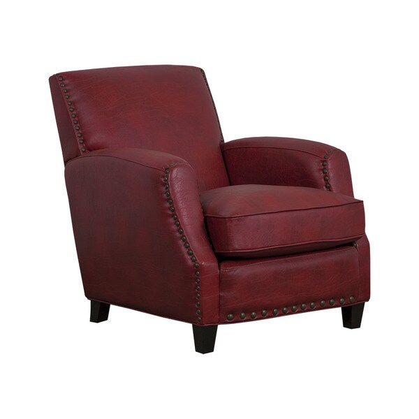 San Lorenzo Red Faux Leather Club Chair