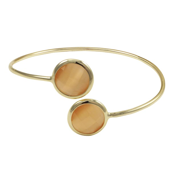 Luxiro Gold Finish Sterling Silver Semi-precious Gemstone Open Cuff Bangle Bracelet