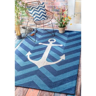 nuLOOM Handmade Chevron Anchor Indoor/ Outdoor Blue Rug (4' x 6')