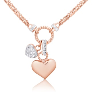 Samantha Stone Rose Gold Over Silver Cubic Zirconia Double Heart Charm Necklace