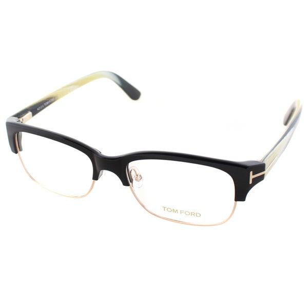 tom ford s black and gold plastic square eyeglasses