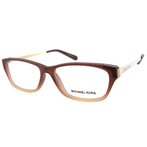 Michael Kors Paramaribo Womens MK 8009 3044 Brown Beige Soft Touch Plastic Rectangle 53mm Eyeglasses